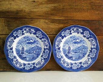 Royal Warwick Blue Transferware Plates / Lochs of Scotland