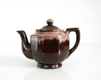 Vintage pink drip glaze teapot
