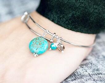 Blue Magnesite Charm Bracelet, Blue Stone Bracelet, Magnesite
