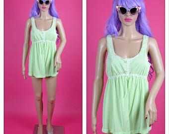 Vintage Pastel Green and White Babydoll  Pajama Top