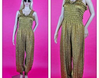 Vintage 1980s Gold Sparkle Jumpsuit
