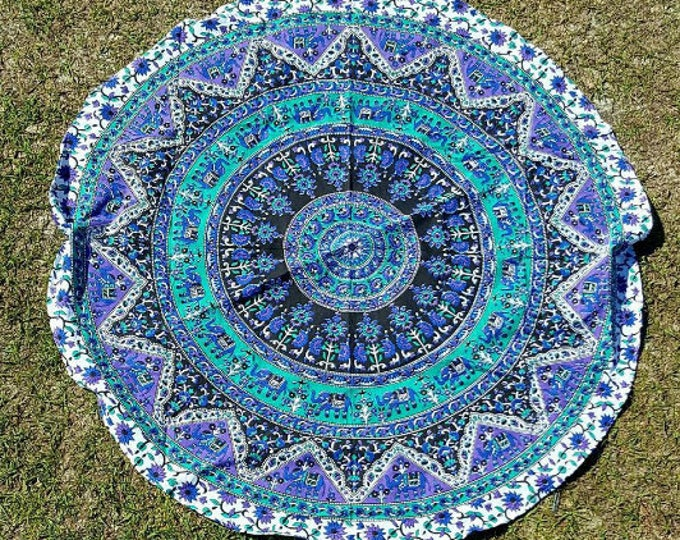 Franklin's Tower Purple and Blue Mandala Roundie Mandala Tapestry Beach Blanket Yoga Mat Meditation Mat Dorm Decor Hippie Tapestry