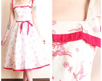 1950s Dress // Pat Premo Reindeer Dress // vintage 50s dress