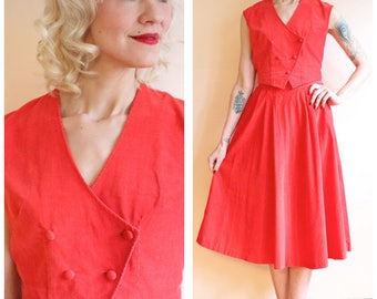 1960s Dress Set // Joyce Tangerine Corduroy Vest & Skirt Set // vintage 60s 2pc set
