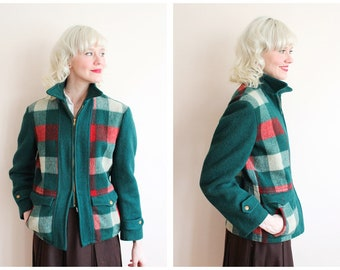 1940s Jacket // Happ Wool Plaid Jacket // vintage 40s coat