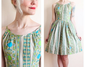 1950s Dress // Bold Gems Dress // vintage 50s dress