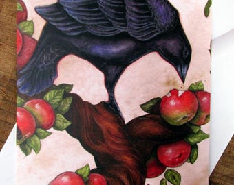 Raven in Apple Tree Greeting Card