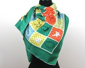 """Novelty """"Lucky"""" Symbols Silk Scarf - 34"""" square - 4 leaf clover, horseshoes, stars - 1950s-60s"""