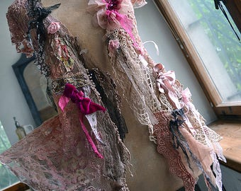 Beautiful Feminine Unique Art To Wear Summer Dusty Pink Elastic Lacy Jacket TIME of ROSES Fairy Antoinette Gipsy Boho Tattered