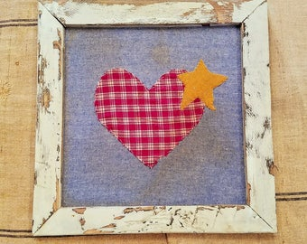 Vintage Handmade Wall Hanging/Folk Art Wall Hanging/Country Farmhouse/Rustic Decor/Heart Patchwork