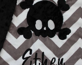 Baby blanket, Personalized blanket, 29 x 35 blanket, skulls blanket
