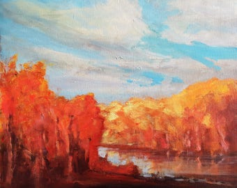 Autumn Glow; Original Acrylic on Canvas Board Painting
