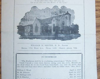 Vintage 1928 Church Bulletin-1st Southern Presbyterian-Austin TEXAS-8th & Brazos-FREE SHIPPING!