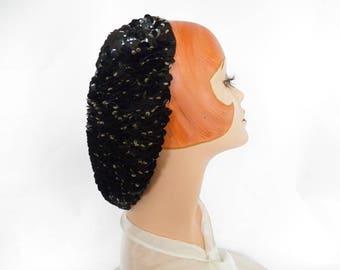 Vintage 1940s snood black, WW2 womans hat