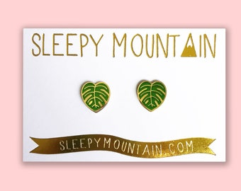 Monstera Leaf Earrings - Gold Plated Cheese Plant Studs