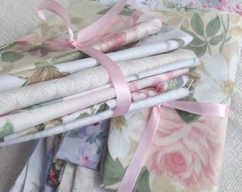 Bundle Vintage French Fabric Summer Drawing Room Floral scraps remnants