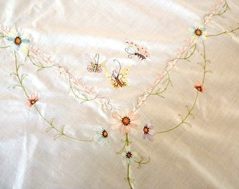 "Butterfly Embroidery Tablecloth 64"" by 45""  Repurposed Linens"