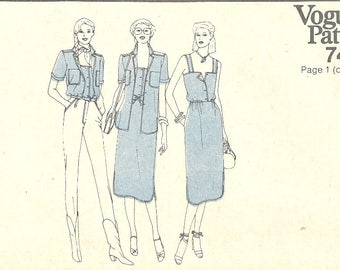 1980's Vogue Pattern 7421 Women's Dress, Top and Shirt Size 12 Bust 34  Summer Sundress and Coverup
