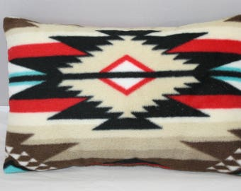 Lumbar Accent Pillow  Navajo Native American Geometric Inspired Blue Red and Black Fleece     14 x 9 inches