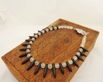 Frosted Clear Quartz and Black Magnetite Necklace, Black and White Gemstone necklace