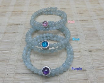 925 Sterling Silver Charm Aquamarine Memory Wire Bracelet   Free Shipping