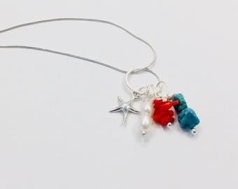 Multi stone - Multi colour necklace - Coral - Turquoise - Pearl - Starfish charm - Jewelry - Ocean - Beach - Valentine's gift - Gift for her