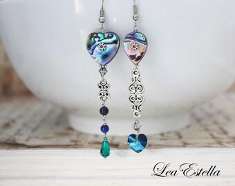 Paua Shell earrings Blue Asymmetrical earrings Abalone Earrings Aurora Borealis Jewelry Ocean earrings Mermaid earrings - Heart of the Ocean