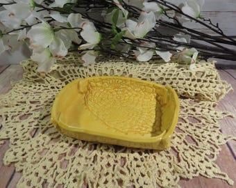 Crocheted Doily soap dish (yellow)