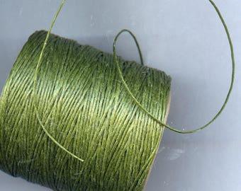 Olive Waxed Cord Thread 5 yards