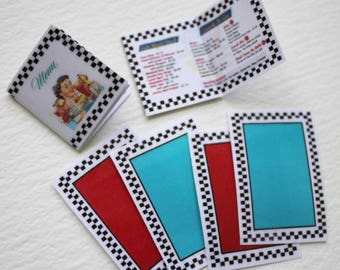 Miniature Retro 50s Diner Menus and Placemats 1:12 Scale