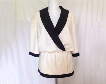 Vintage St John Tuxedo Peplum Top  1970s St John Jacket   Womens Tuxedo  Cream Knit Top  Black Collar Blouse Size 12 large