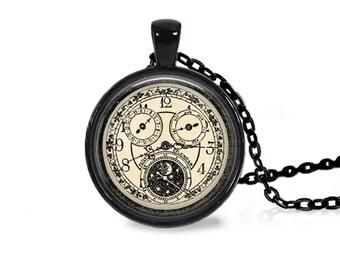 "25mm Antique Clock w/ Moon & Stars Cabochon Black 18"" Necklace"