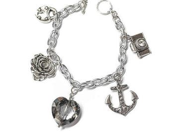 FLASH SALE Rockabilly Girl Charm Bracelet- Crystal Heart, Anchor, Camera, Rose and Lock Charms