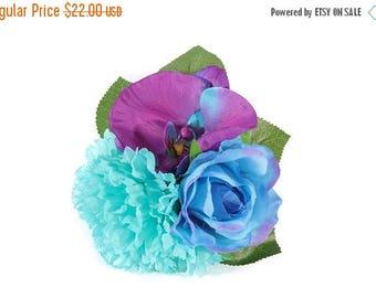 FLASH SALE Mermaid Blue & Purple Tropical Pinup Hair Flower Fascinator Clip