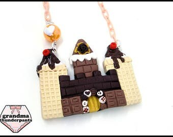 Chocolate Ice Cream Castle Necklace, Princess, Hime, Hime-Kei, Fairy-Kei, Original Design