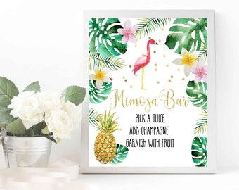 Flamingo Mimosa bar sign Flamingo Mimosa Bar printable Flamingo baby shower Flamingo bridal shower Tropical Pineapple Mimosa bar sign Luau