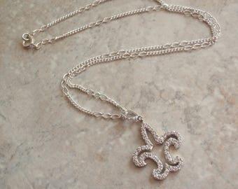 Fleur de Lis Necklace Sterling Silver Pave CZs 18 Inch Chain Vintage 080114ON