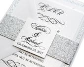 Classic Love Story Wedding Invitation Set - silver wedding, classic, silver glitter, luxurious invitation, shimmer invitation, printed