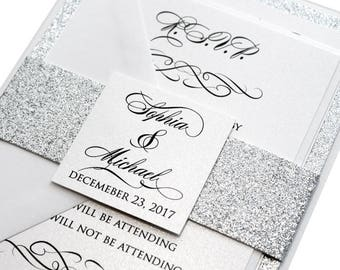 60 Classic Love Story Wedding Invitation Set - silver wedding, classic, silver glitter, luxurious invitation, shimmer invitation, printed