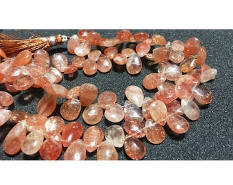 ON SALE 55% SunStone Beads, Pear Beads, Sunstone Briolettes, Faceted Beads, Wholesale Gemstones, 7x10mm Each, 30 Pieces Approx,