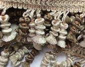 SALE  3 yard piece Tassel fringe trim ivory bronze  #B10