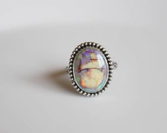 Opal Ring / Monarch Opal Ring Size 8.5 / Rainbow Opal Ring / Opal Rings for Women / Opal Jewelry / Big Opal Ring / Colored Opal Jewelry