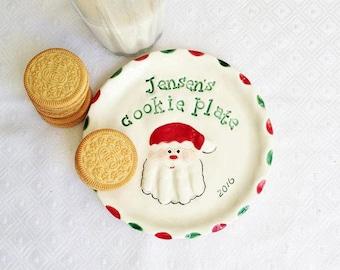 Christmas Cookie Plate - Santa Plate  - Handprint Plate - Personalized Christmas Plate - Baby Christmas Plate - Cookie Plate - Santa Cookies