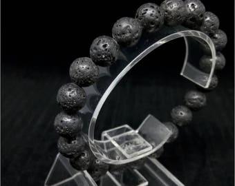 lava stone bracelet,beaded bracelet,energy bracelet,Black Lava Bracelet,Black Bead Bracelet,Mens necklace,lava stone bracelet 10mm