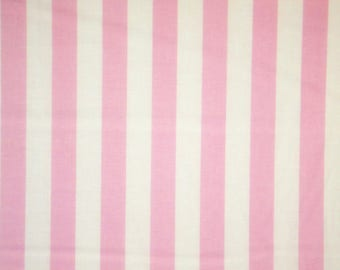 Light Pink and White Stripe Print Pure Cotton Fabric