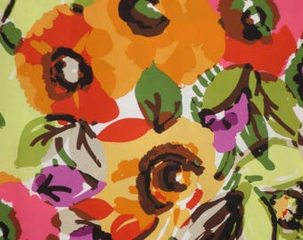 Green and Orange Huge Dramatic Abstract Floral Print Stretch Cotton Broadcloth Fabric--By the Yard
