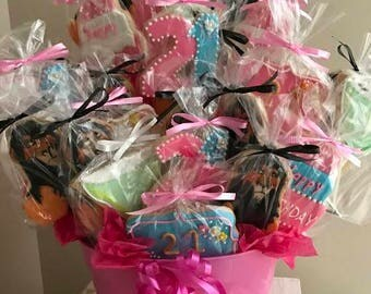 Cookie Bouquet, Cookie gift, Cookies, Cookie centerpiece, edible centerpiece,designer cookies,