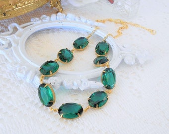 Emerald Collet, Emerald Choker, Art Deco Necklace, Emerald Statement, Estate Jewelry, Crystal Choker, Emerald Necklace, Green Necklace