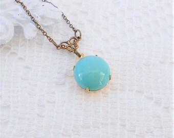 Turquoise Necklace, Art Nouveau Necklace, Vintage Jewel Necklace, Estate Style Jewelry, Blue Pendant Necklace, Faux Turquoise Necklace
