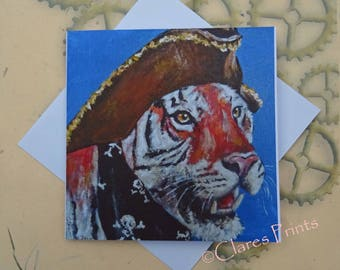 Pirate Tiger Art Greeting Card From my Original Painting